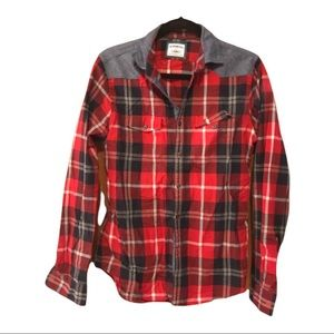 Express men's button down, red and blue plaid top